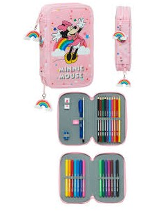 Plumier doble Minnie Arcoiris